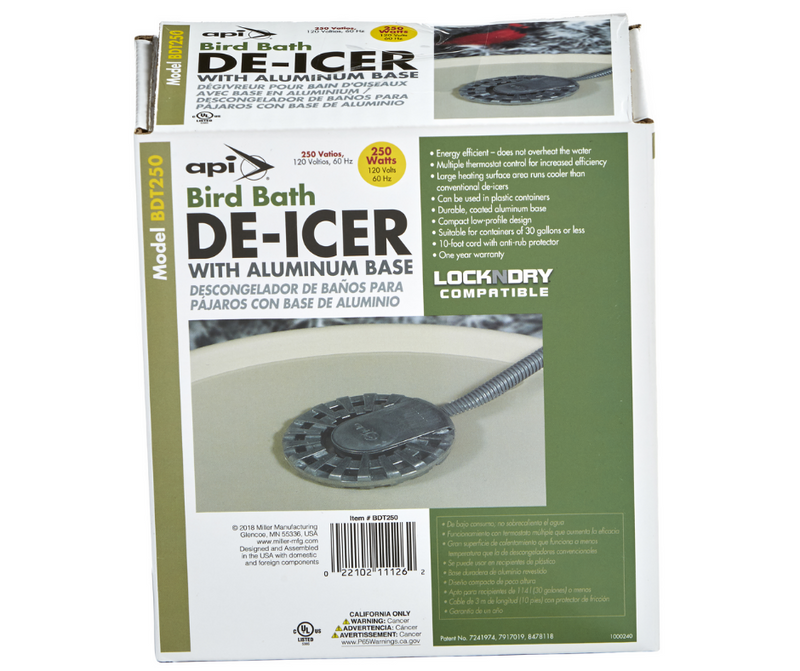 Bird Bath De-Icer with Aluminum Base By API Model BDT250