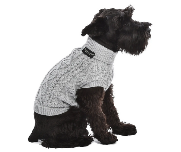 Cloud Grey Cable Knit Sweater for Dogs