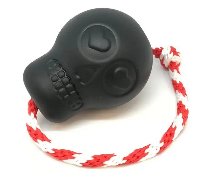 MBK K9 Skull Chew Dog Toy with Rope and Treat Insert