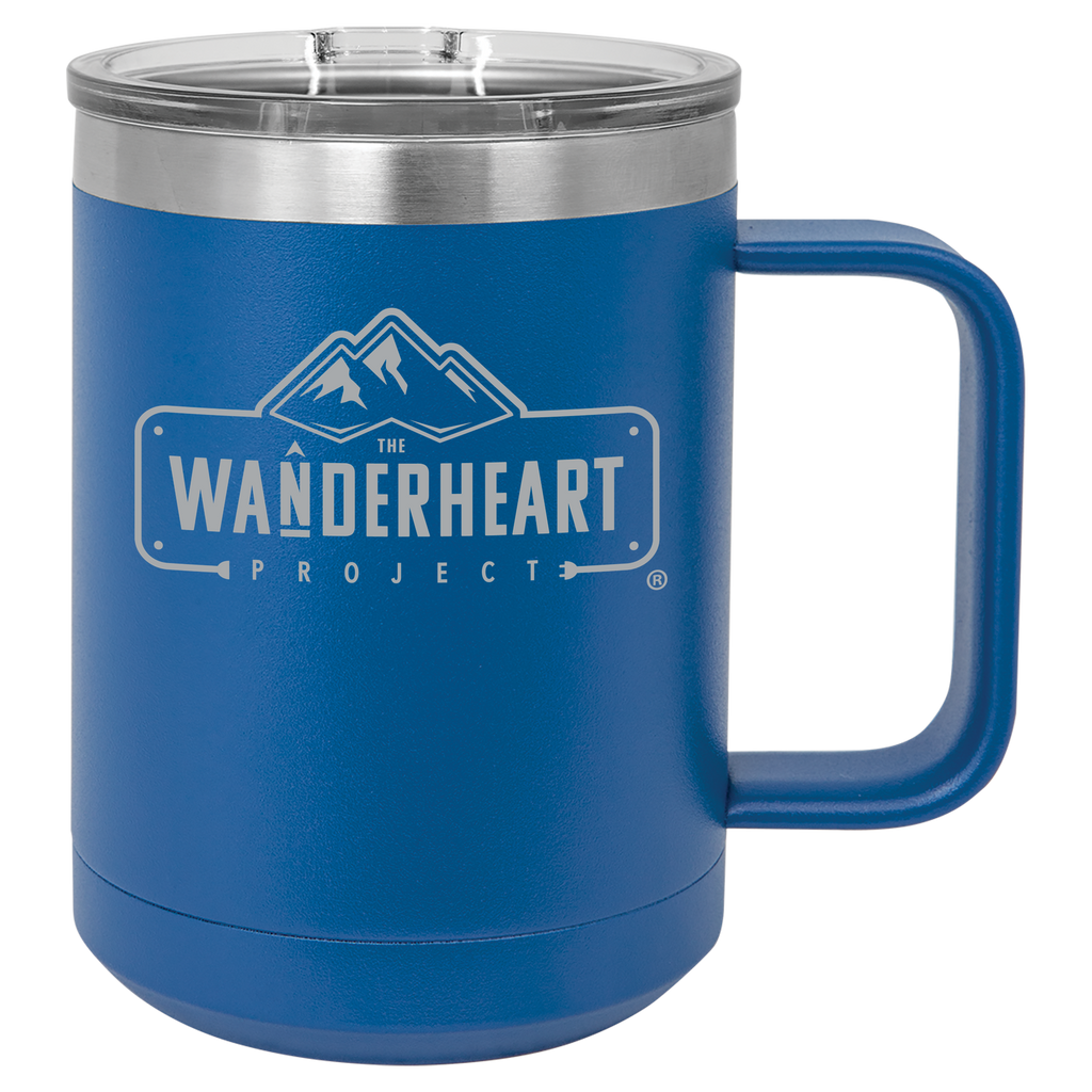 The Wanderheart Project Logo Premium 15 oz. Coffee Mug Tumbler