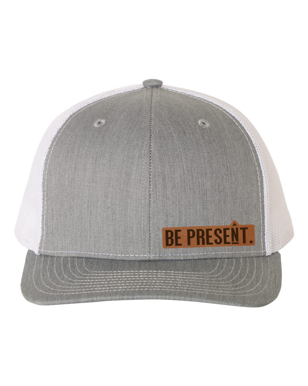 BE PRESENT. Leather Patch Hat