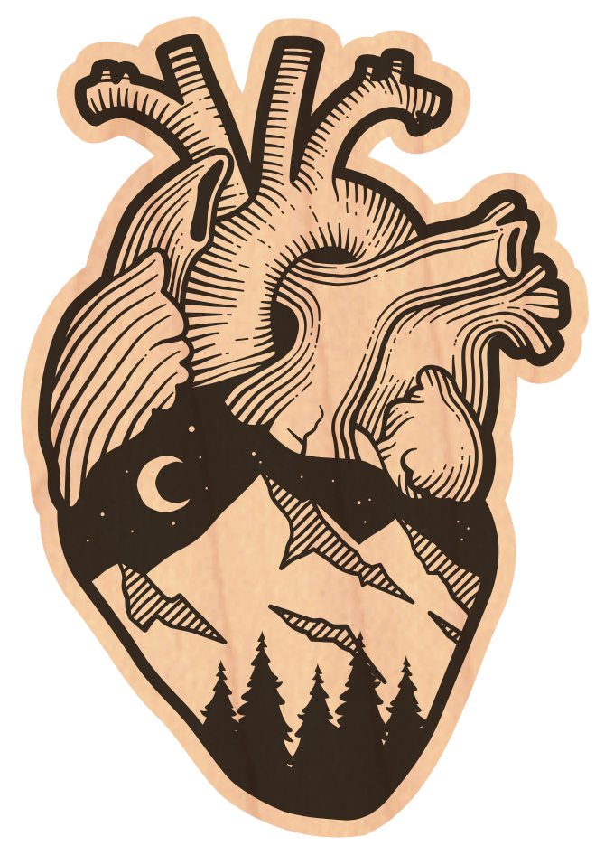 Anatomical Heart Wood Sticker (100% Profit Donation)