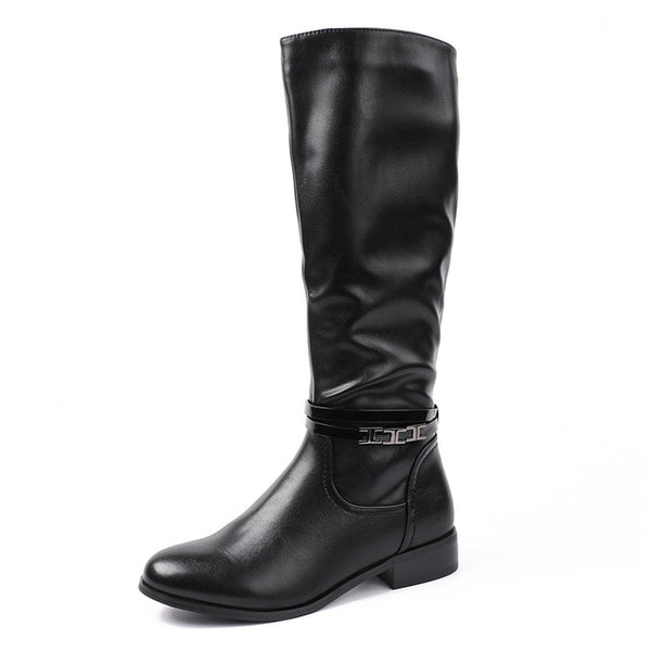 4210255aa37 AIMEIGAO Fashion Ladies Knee High Winter Boots Soft Leather Boots Woman  Black Zip Warm Fur Women