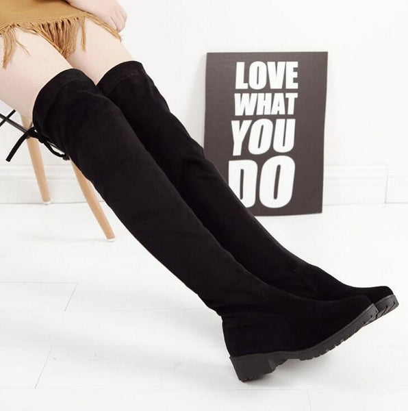 46090e87ce364 EFFGT Women shoes New Over The Knee Thigh High Black Boots Women Motorcycle Flats  Long Boots