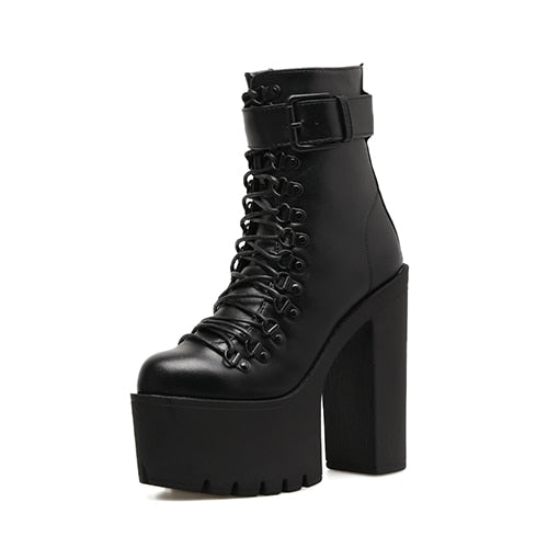 1a0c548af40054 Gdgydh Fashion Motorcycle Boots Women Leather Spring Autumn Metal Buckle  High Heels Shoes Zipper Black Ankle