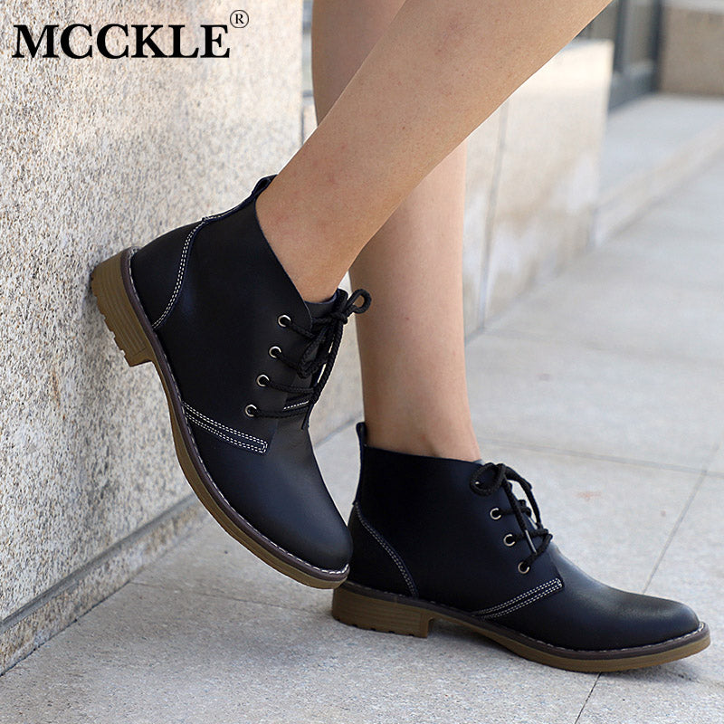 4553061f60b64e ... MCCKLE Woman Fashion Genuine Leather Motorcycle Ankle Boots Female Lace  Up Low Heels Platform Comfortable Spring