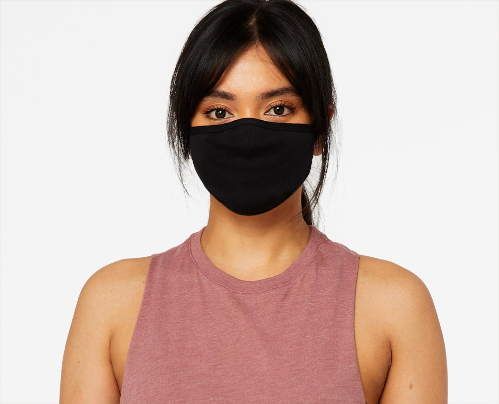 woman wearing black sewn face cover