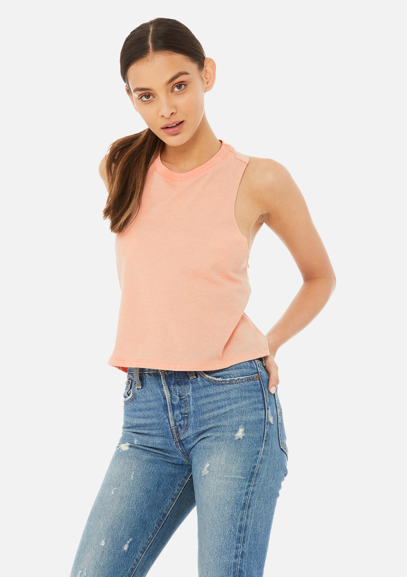 womens crop tank peach