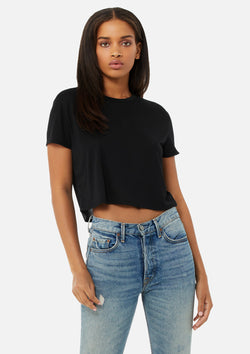 womens crop tee black