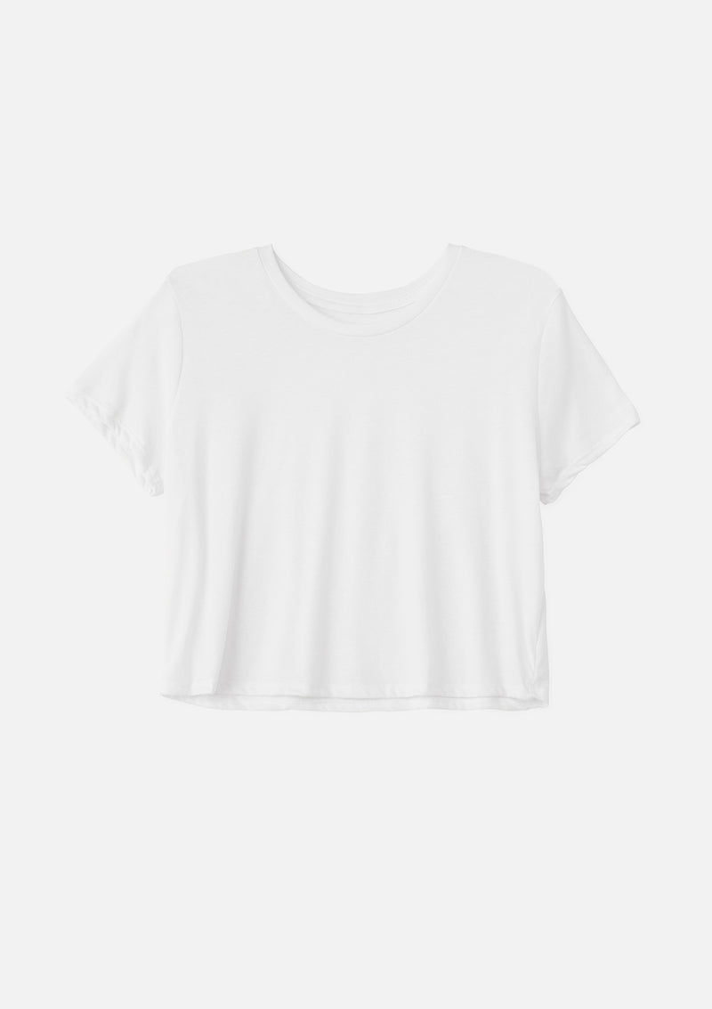 womens crop tee white