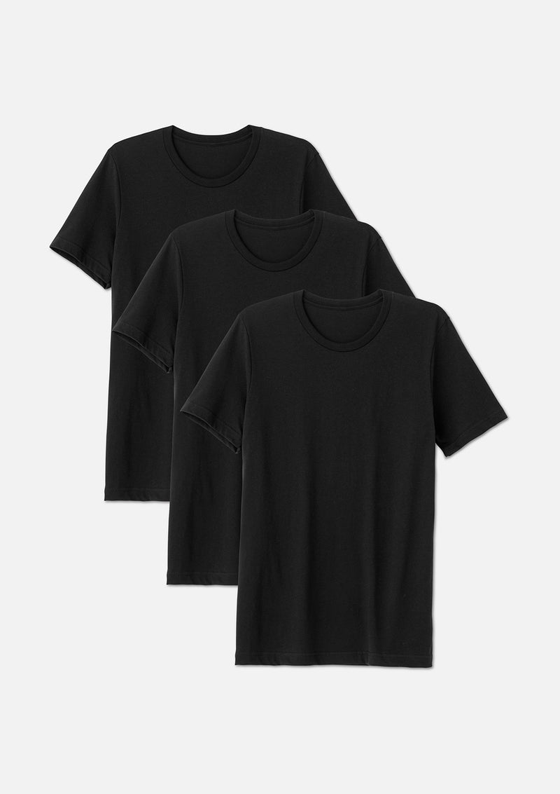 mens airlume cotton crew tee black bundle