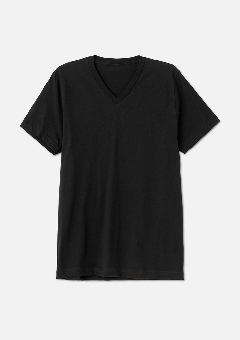mens airlume cotton vneck tee black