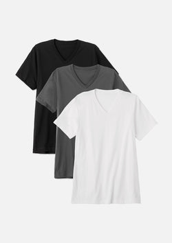mens airlume cotton vneck tee black asphalt white bundle