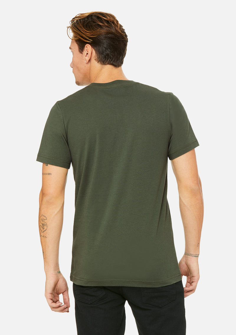 mens airlume cotton vneck tee military green