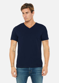 mens airlume cotton vneck tee navy