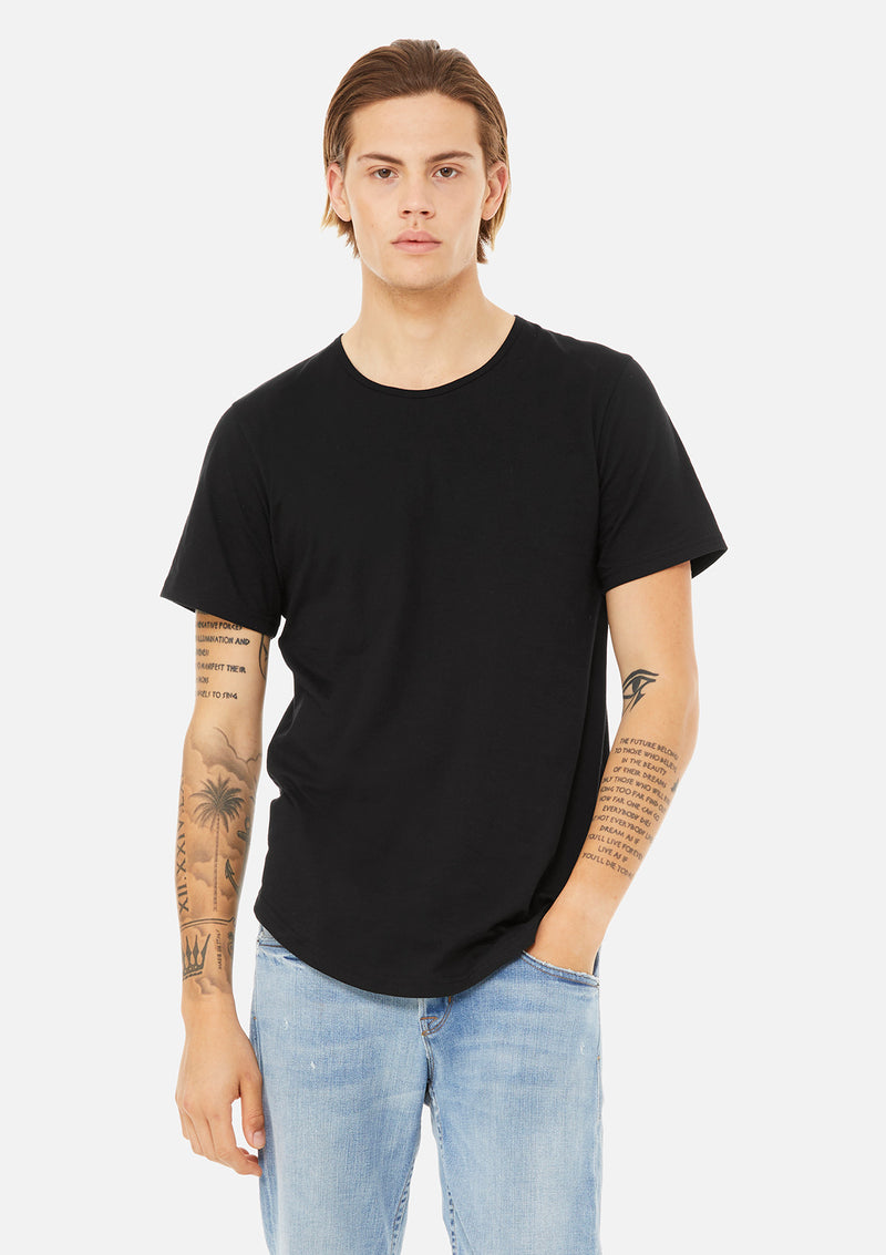 mens curved hem tee black