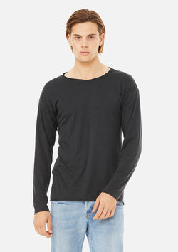 mens raw neck long sleeve tee dark grey
