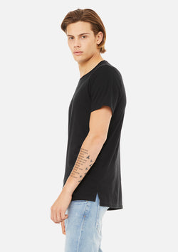 mens split hem tee black