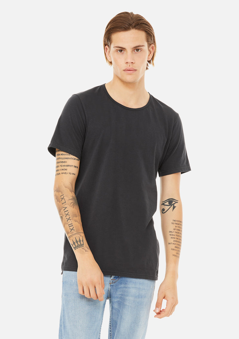 mens split hem tee dark grey