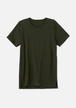 mens split hem tee dark olive