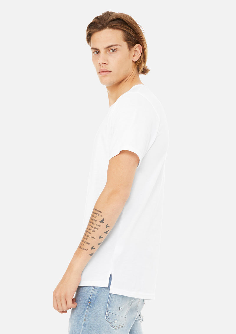 mens split hem tee white