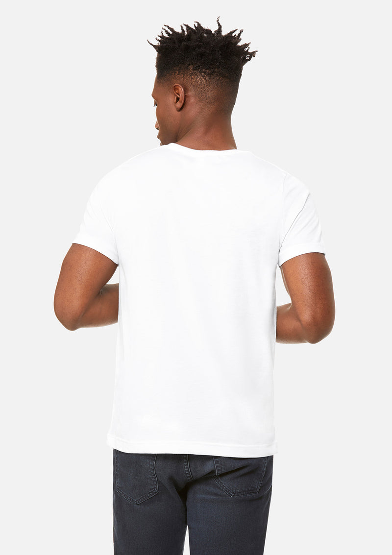 mens triblend crew tee white