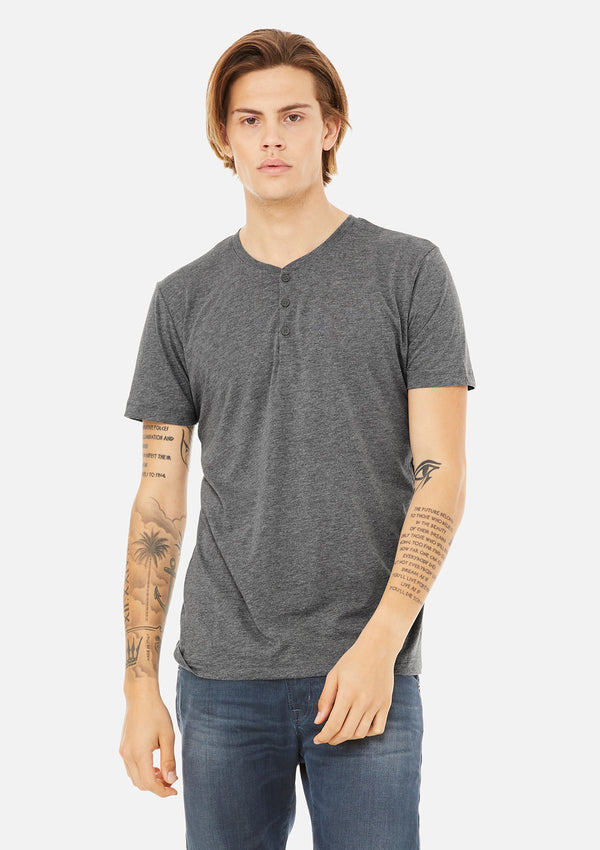 mens triblend henley grey