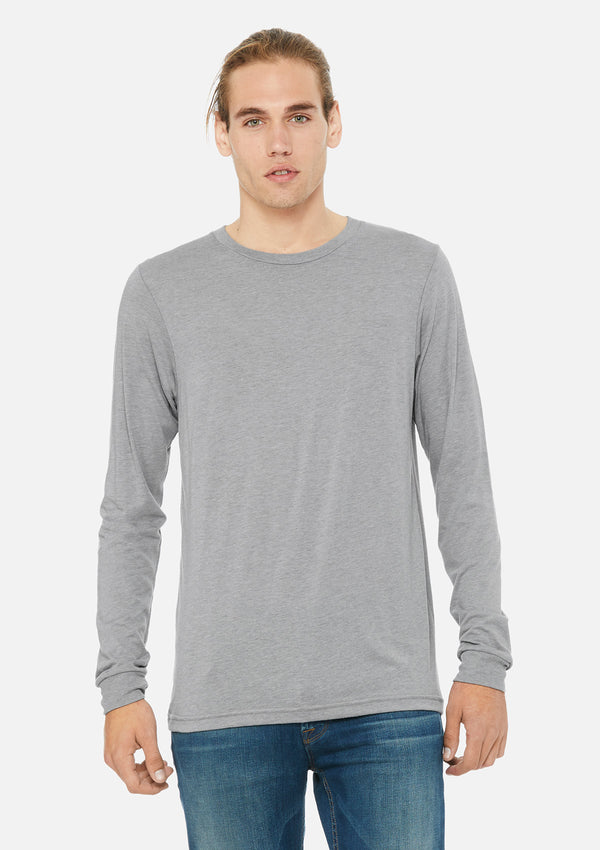 mens triblend long sleeve tee athletic grey