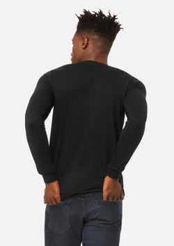 mens triblend long sleeve tee black