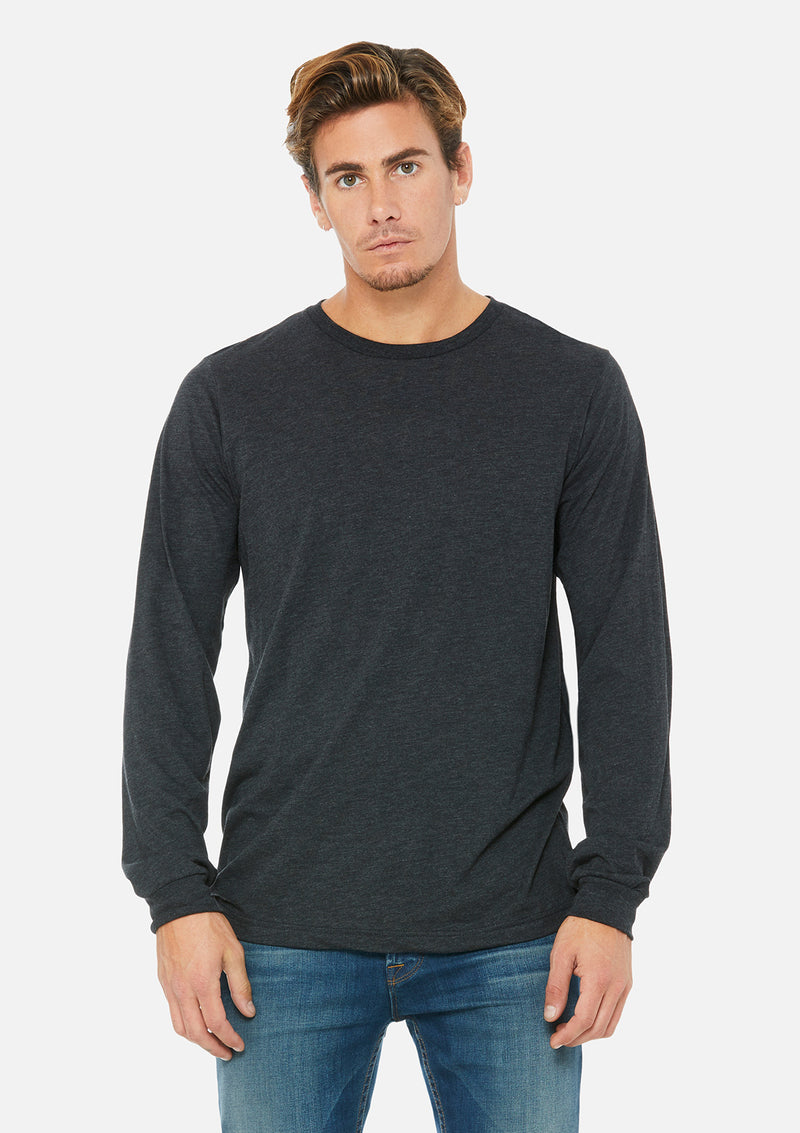 mens triblend long sleeve tee charcoal