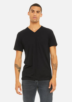 mens triblend vneck tee black