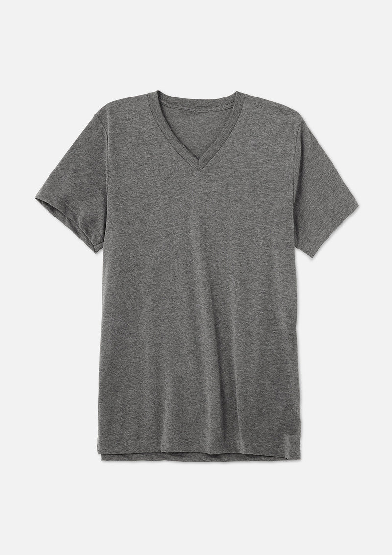 mens triblend vneck tee grey