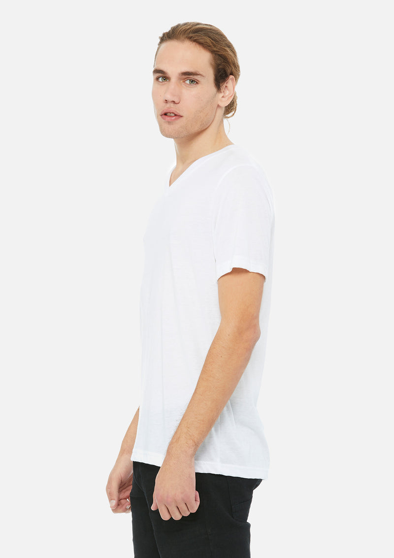 mens triblend vneck tee white