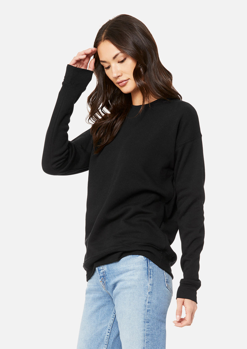 womens boyfriend crew sweatshirt black