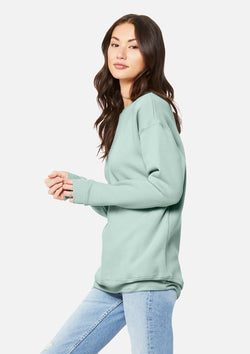 womens boyfriend crew sweatshirt dusty blue
