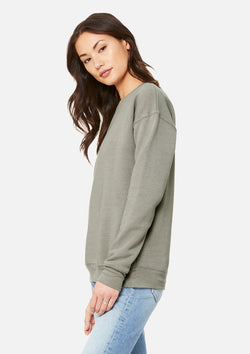 womens boyfriend crew sweatshirt heather stone