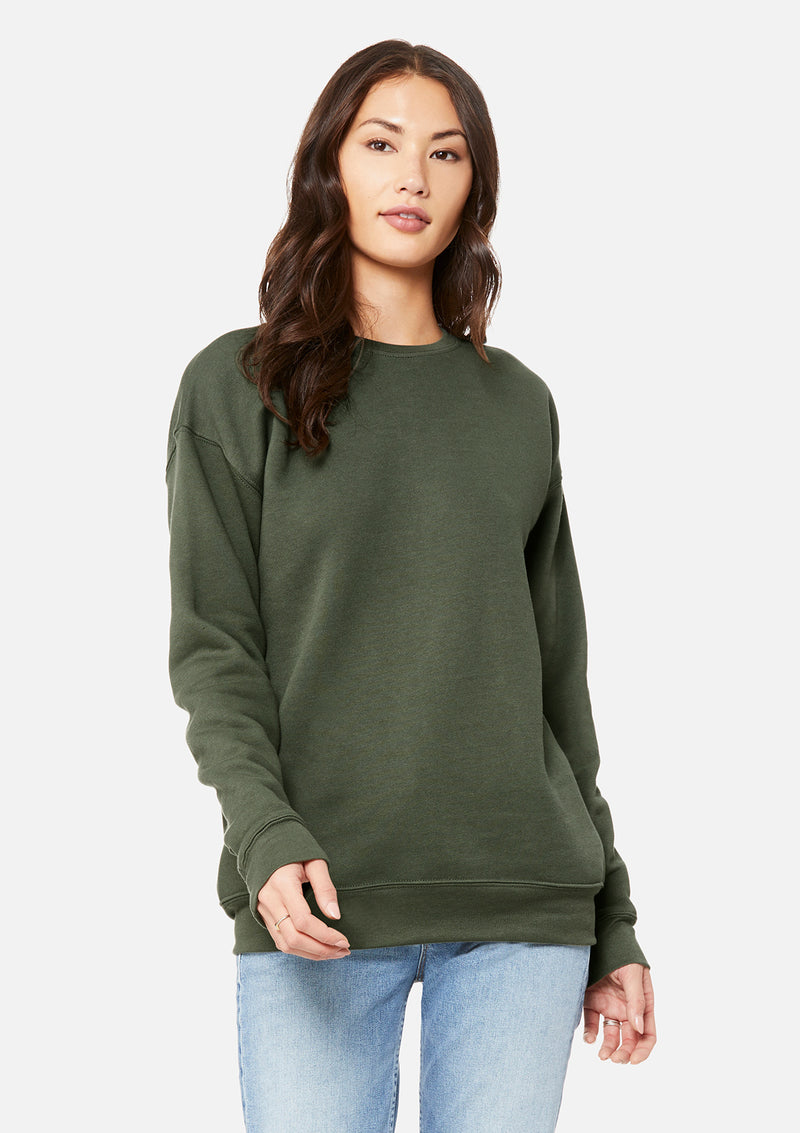 womens boyfriend crew sweatshirt military green