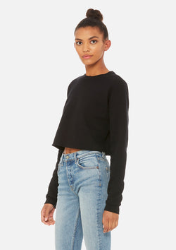 womens crop crew sweatshirt black