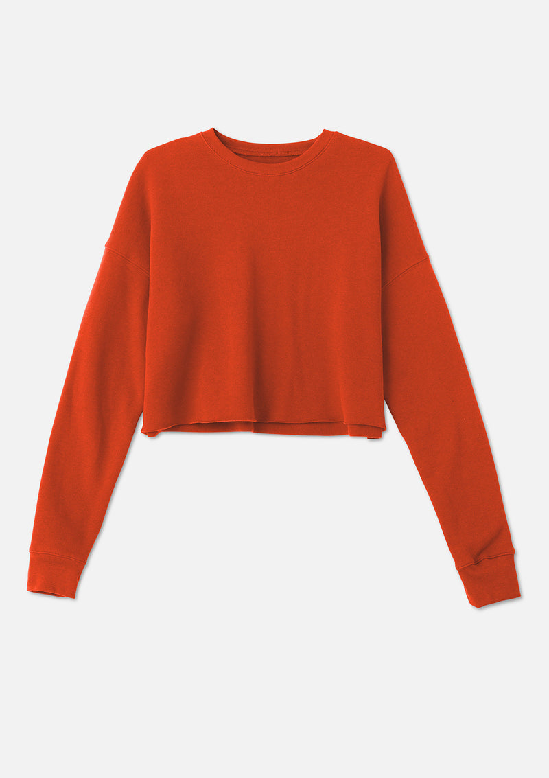 womens crop crew sweatshirt brick