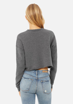 womens crop crew sweatshirt deep heather