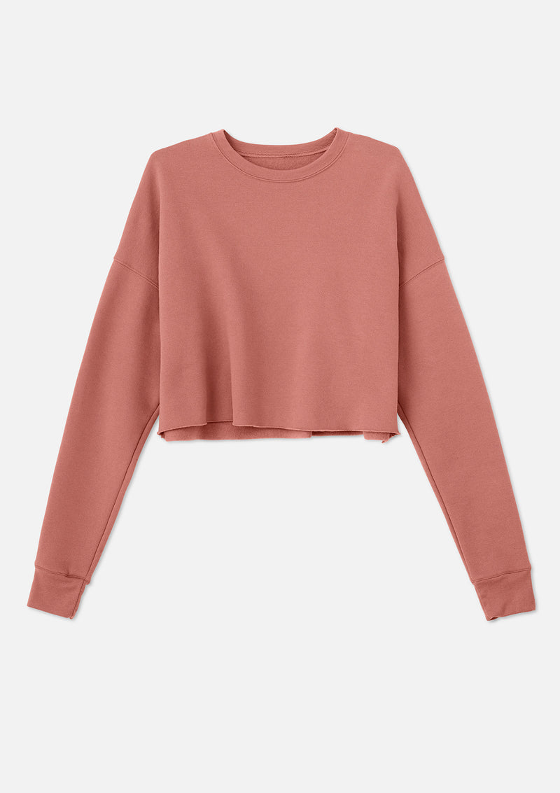 womens crop crew sweatshirt mauve