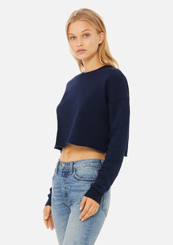 womens crop crew sweatshirt navy