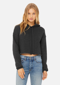 womens crop hoodie dark grey heather