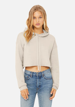 womens crop hoodie heather dust