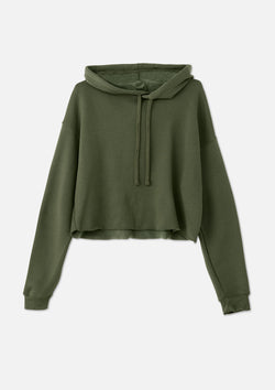 womens crop hoodie military green