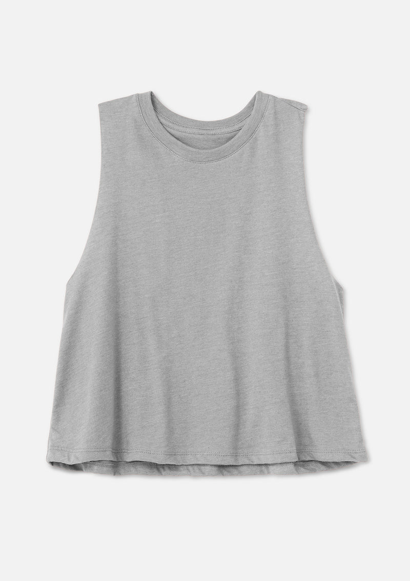 womens crop tank athletic heather grey