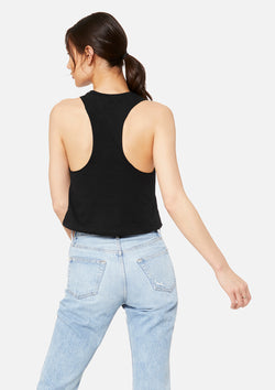 womens crop tank black