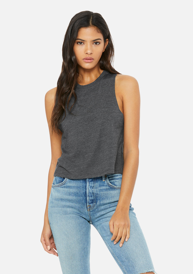 womens crop tank dark grey heather
