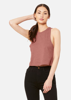 womens crop tank heather mauve