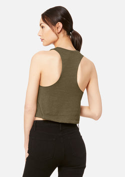 womens crop tank heather olive